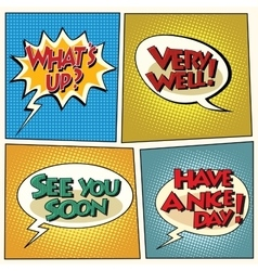 Set of retro comic bubbles pop art phrases vector