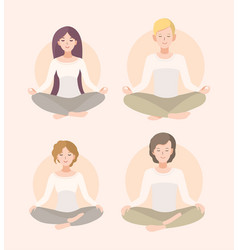 Set young woman and man meditating in lotus pose vector