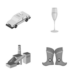 Taxi glass of wine and other monochrome icon in vector
