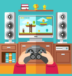 Teenager gaming video game with gamepad and vector
