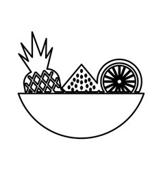 Tray with tropical fruits vector