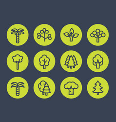 trees line icons set vector image vector image