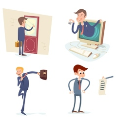 Vintage businessman characters set icon on stylish vector