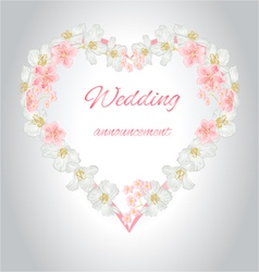 Wedding announcement heart of jasmine and sakura v vector image vector image