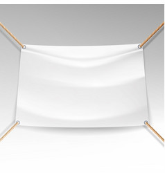 White banner with ropes empty textile vector