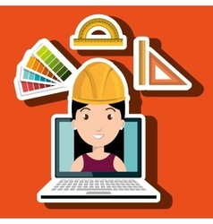 Woman architecture laptop rules vector