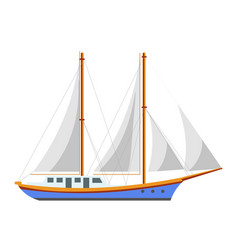 Yacht sailboat or sailing frigate ship sea cruise vector