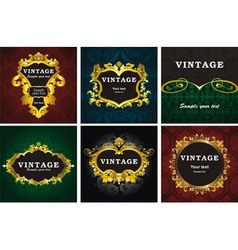 Vintage gold labels vector