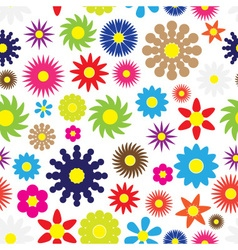 Colorful simple retro small flowers seamless white vector