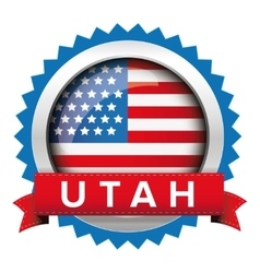 Utah and usa flag badge vector