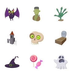 Resurrection of dead icons set cartoon style vector