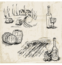Wine winemaking and vineyard vector
