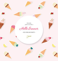 Hello summer background pattern with ice cream vector
