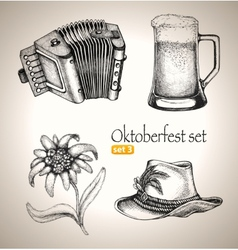 Sketch elements for oktoberfest festival vector