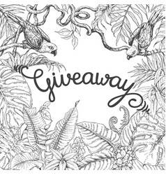 Giveaway banner with tropical birds vector