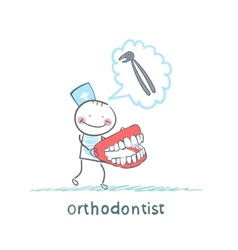 Orthodontist with the jaw in the hands of thinking vector