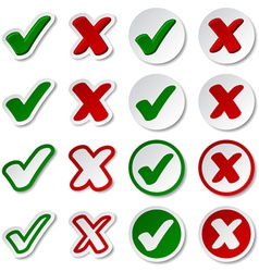 Checkmark stickers vector