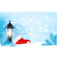 Christmas background with a lantern and a Santa vector image