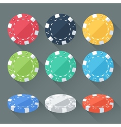 Set of colorful gambling chips casino tokens vector