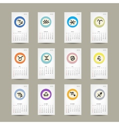 Calendar grid 2015 zodiac signs design vector