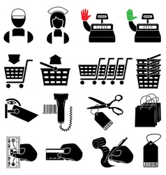 Supermarket icon set vector