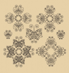 set Victorian butterfly ornaments 01 vector image