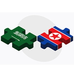 Saudi arabia and korea-north flags vector