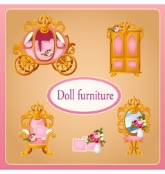 Royal doll furniture for the room Princess vector image