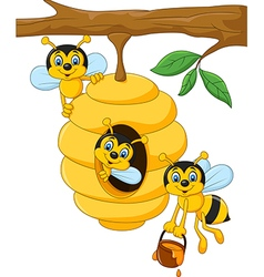 Cartoon branch of a tree with a beehive and a bee vector