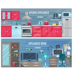 Household horizontal banners with electronic and vector