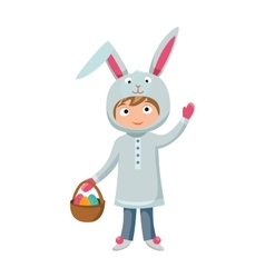 Greeting card easter rabbit vector