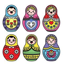 Kawaii cute Russian nesting doll - Matryoshka vector image
