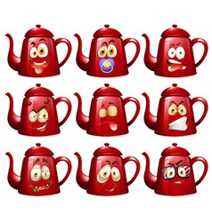 Red teapots with facial expressions vector