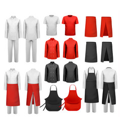 Big set of culinary clothing white and red suits vector