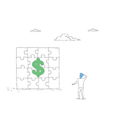 business man looking at puzzle with dollar sign vector image