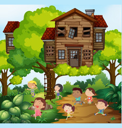 children and treehouse in the park vector image vector image