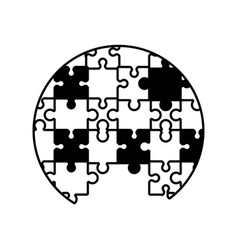 Circle puzzle solution monochrome vector