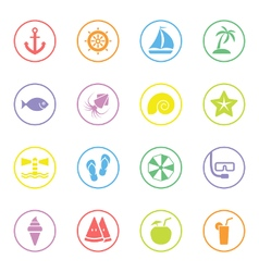 Colorful flat icon set 9 with circle frame vector