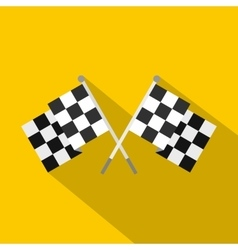 Crossed chequered flags icon flat style vector