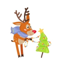 Deer in blue scarf decorate xmas tree isolated vector