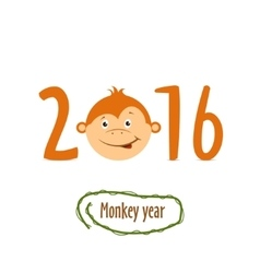 Flat funny brown monkey on a white background vector image