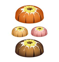 Four lemon bundt cake with sugar glaze vector