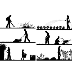 Gardening foreground silhouettes vector image vector image