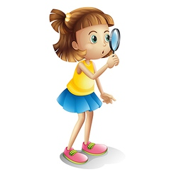 girl and a magnifying glass vector image vector image