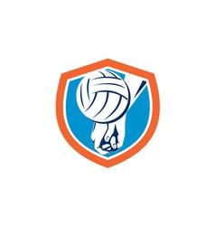 Hand Hitting Volleyball Ball Shield Retro vector image vector image
