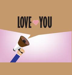 Hand holding megaphone to speech love message - vector