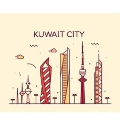 Kuwait city skyline silhouette linear style vector