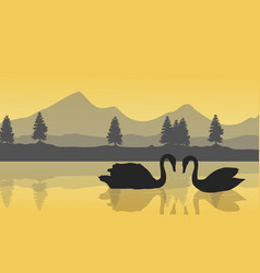 Landscape of swan on the lake vector