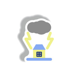 Lightning cloud and house storm vector