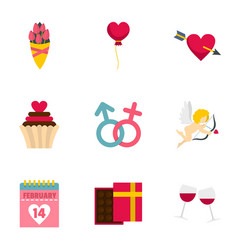lovers day icons set flat style vector image